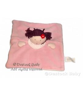 Doudou plat carré Poupée Fille mauve rose JaCaDI Dessous blanc Fleur rouge