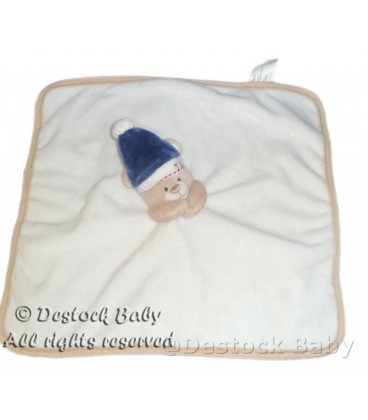 Doudou plat blanc OURS beige Bonnet bleu MaYORaL MODa INFaNTIL 31x31cm