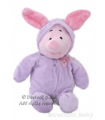 Doudou peluche PORCINET Pyjama Mauve Disney Nicotoy 32 cm avec les oreilles