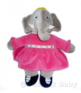 Peluche Doudou Elephant CELESTE Babar Grise robe rose 40 cm