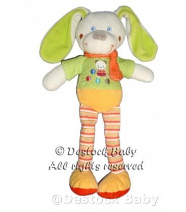 Doudou peluche LaPIN Chien vert Jaune Orange MOTS D'ENFaNTS H 31 cm