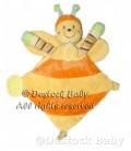 Doudou plat PaPILLON Jaune orange MOTS D'ENFaNTS H 27 cm