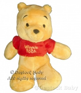 Doudou peluche WINNIE The Pooh Floppy Disney Nicotoy Simba Dickie 22/28 cm Pull rouge