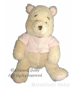 Doudou peluche WINNIE The Pooh blanc creme 26/32 cm Pull rose Disney Store Longs poils