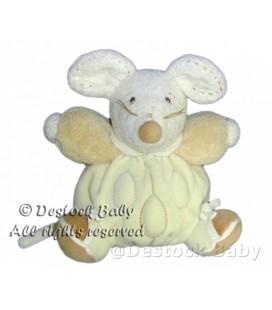 Kaloo Doudou peluche souris ecru beige Nature pure Feuilles 18 cm