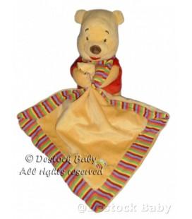 Peluche doudou Mouchoir Couverture Winnie Abeille Grelot 20 cm Disney Baby Nicotoy
