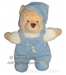 Peluche doudou Winnie bleu salopette Lapin DISNEY Store 25 cm Disneyland