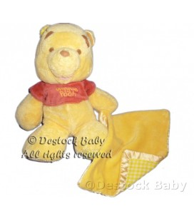 Peluche doudou Winnie Mouchoir Carreaux Vichy Satin Disney Nicotoy 28 cm