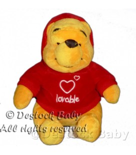 Peluche doudou Winnie l'Ourson Lovable Pull rouge capuche H 18 cm Disneyland