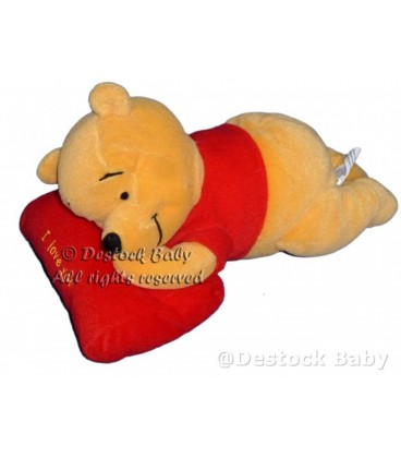 Peluche doudou Winnie l'Ourson Coussin I love you Disney Nicotoy L 23 cm