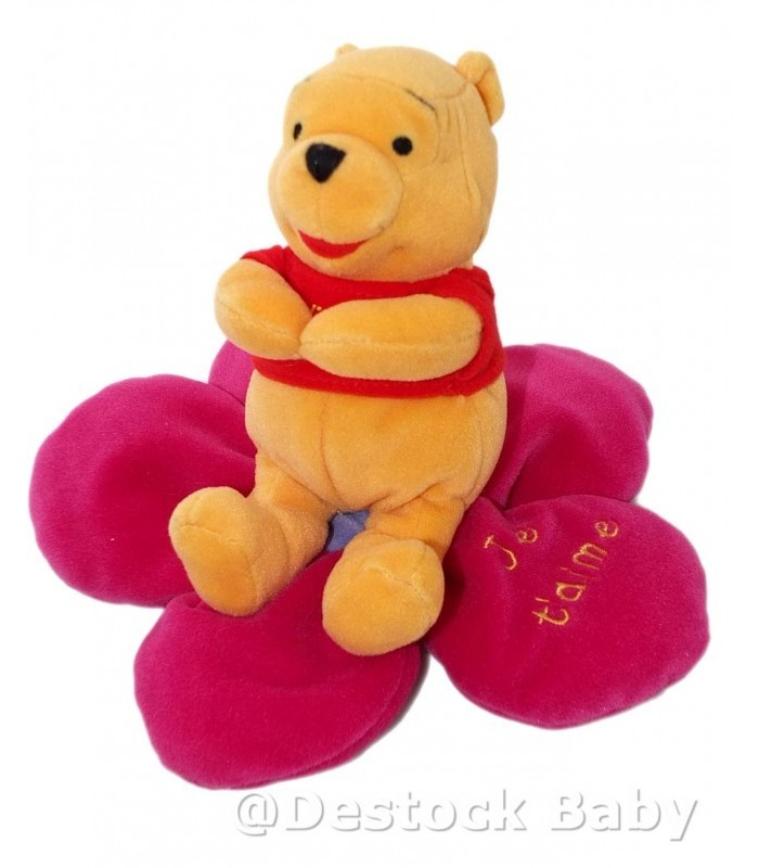 peluche doudou winnie l 39 ourson the pooh sur fleur mauve je t 39 aime h 18 cm. Black Bedroom Furniture Sets. Home Design Ideas