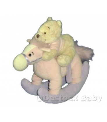Doudou Peluche Winnie l'Ourson Cheval bascule rose Disney 23x25cm