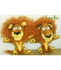 LOT de 2 Peluche doudou LION Alex MADAGASCAR Dreamworks Big headz 24 cm