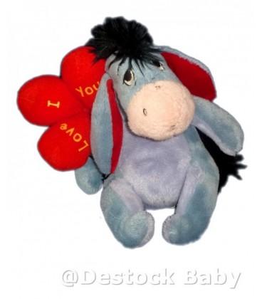 Peluche doudou Bourriquet Ballons Coeur I Love You Disney Nicotoy H 18 cm