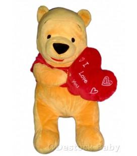 Peluche doudou WINNIE L'OURSON Coeur I love you H 65 cm Disney Nicotoy 587/9880
