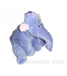 Doudou peluche LUMPY Efelant Elephant mauve Disney Nicotoy BDR Houpette Laine 22 cm