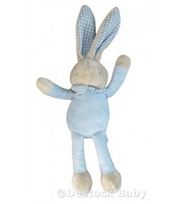 Doudou lapin bleu bebe Laboratoires KLORANE 38 cm Col vichy