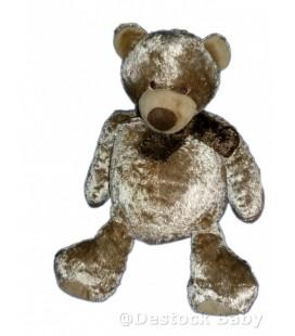 Doudou peluche OURS marron Echarpe B coeur Primatis H 50 cm