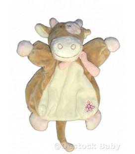 Doudou marionnette vache Lola rose blanc beige Noukie's Fleur