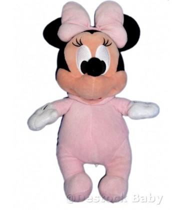 Doudou peluche MINNIE bebe noeud rose Disneyland Disney Store 35 cm