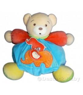 Doudou OURS boule KaLOO bleu Elephant Grelot Gd Mod H 25 cm