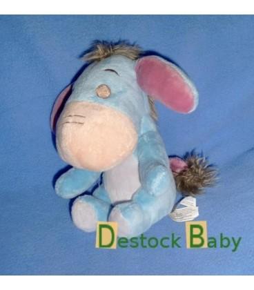 Peluche doudou Bourriquet bleu mauve crinière yeux brodés gris Disney Nicotoy