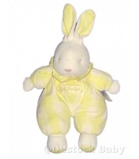 Doudou peluche LaPIN jaune corps tissu JaCaDI H 35 cm avec oreilles
