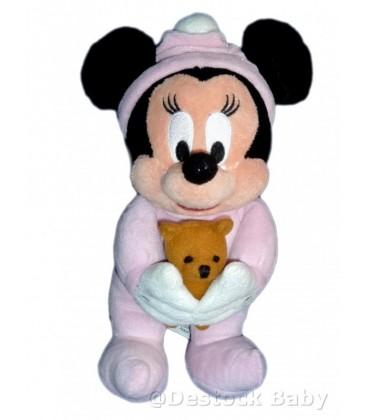 Doudou peluche MINNIE bebe et son doudou Ours Bonnet Disneyland Disney Store H 26 cm
