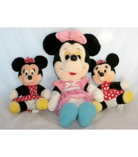 Lot de 3 peluches doudou DISNEYLAND Eurodisney - Minnie 40 cm et 2 Minnie 20 cm