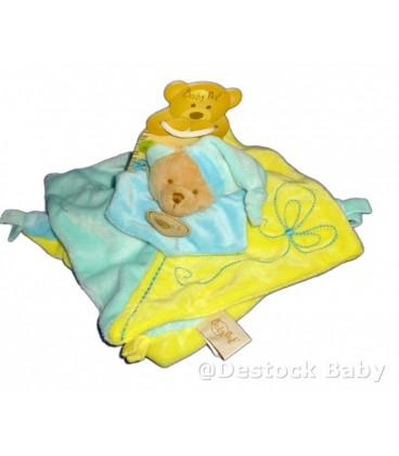 Doudou plat OURS bleu jaune BaBY NaT Babynat Noeuds Bonnet Turquoise