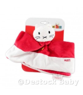 Doudou plat CHAT rouge blanc MUSTI Bengy