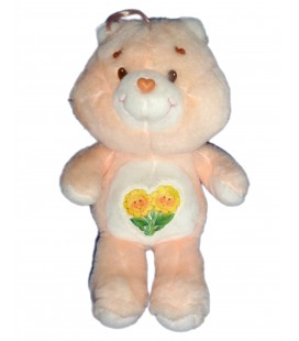 PELUCHE BISOUNOURS CARE BEARS PLUSH GROSCOPAIN FRIEND BEAR ORANGE 2 FLEURS KENNER 36 CM