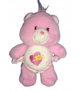 Doudou peluche BISOUNOURS rose Etoile Coeur CARE BEARS 26 cm JEMINI