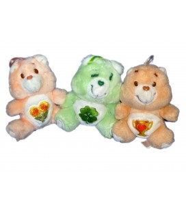 LOT 3 PELUCHES BISOUNOURS CARE BEARS PLUSH TREFLE COEUR COUPE H 16 CM KENNER