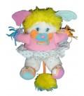 VINTAGE Peluche POPPLES Pom Pom Girl Plush blanc rose 1987 Mattel Delplay H 28 cm