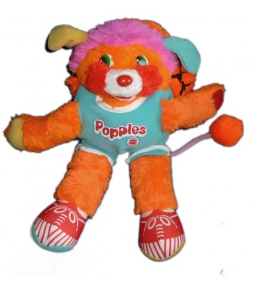 VINTAGE Peluche POPPLES Bleu orange Basket Mattel Delplay H 32 cm