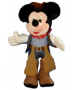 VINTAGE Peluche MICKEY Cow Boy Disneyland Paris H 38 cm