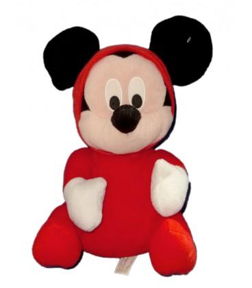 Doudou peluche MICKEY pyjama grenouillère rouge assis H 28 cm Disney PTR SRL