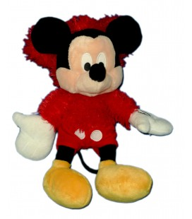 Doudou peluche MICKEY pyjama Pull Capuche rouge Longs poils assis H 32 cm Disney Nicotoy