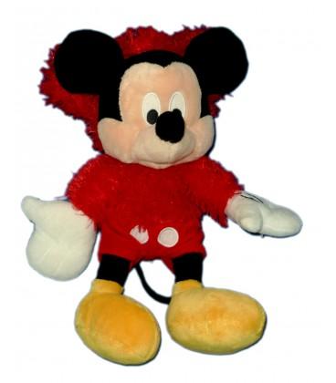 Doudou peluche MICKEY pyjama Pull Capuche rouge Longs poils assis H 32 cm Disney Nicotoy
