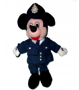 VINTAGE PELUCHE MICKEY POLICIER POLICEMAN WALT DISNEY DISNEYLAND H 26 CM