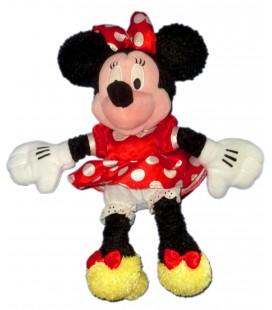 Doudou Peluche MINNIE Bébé Robe rouge pois blancs Longs Poils Authentique Disney Store Disneyland