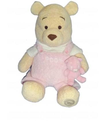 Doudou peluche WINNIE L'OURSON et son doudou Salopette Pooh rose T shirt blanc Original Disney Store 24/32 cm
