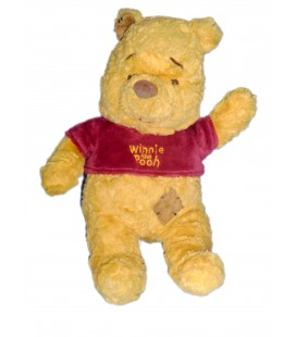 Doudou peluche WINNIE L'OURSON The Pooh Plush Bear Losange marron Pull bordeaux H 28 cm Disney Baby Nicotoy