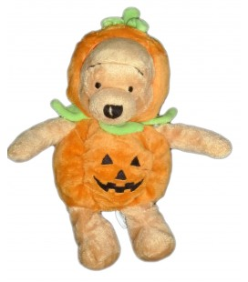 Doudou peluche WINNIE Halloween Citrouille 22 cm Authentique Disney