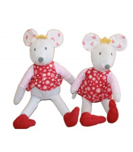Peluche Doudou Souris Grise Robe Rouge Ikea 30 Cm LE LOT DE 2