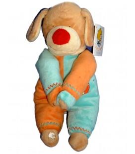 Doudou peluche CHIEN bleu orange LASCAR Aimants Pattes H 25 cm