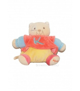 KaLOO - Doudou Chat Boule Jaune Orange Bleu Sporty Cocard Doudou Peluche 18 Cm