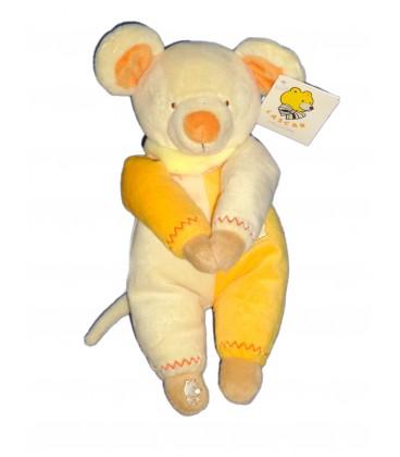 Doudou peluche SOURIS jaune orange LASCAR Aimants Pattes H 25 cm