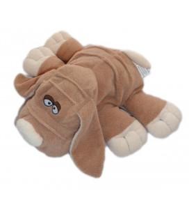 Doudou peluche chien allongé marron Dupuis
